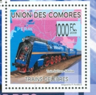 16/11 (vert) Comores Timbre XX Train Trein Le Transiberien Transiberian