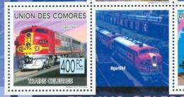 16/11 (vert) Comores Timbre XX Train Trein Le Super Chief