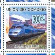 16/11 (vert) Comores Timbre XX Train Trein Le TGV