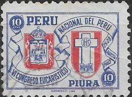 PERU 1960 Obligatory Tax. 6th National Eucharistic Congress Fund - 10c Piura Arms & Congress Emblem  FU - Peru