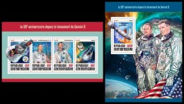 CENTRAL AFRICA 2016 - Gemini 8, Space, M/S + S/S Official Issue