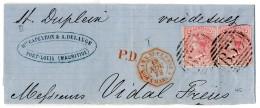 """1873, Paar 4 P Mit NS """"B 53"""" Von Port Louis Auf Oberer Briefhälfte Mit Rotem Nebenstpl. """"POS.AN.V.SUEZ PAQ.F...."""