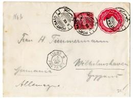 """1896, Ganzsachenumschlag Mit Zusatzfrankatur Nach Wilhelmshaven, Mit Oktogon-Nebenstpl. """"LIGNE N PAQ FR.No 9"""",..."""