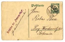 """Bedarfs-Ganzsache (kl. Knitter) Der Redaktion Der """"Kamerun Post"""" """"Duala 8.7.14"""", Letzte Post Vor Ausbruch Des..."""