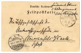 """""""Kuis 13.3.05"""" In Kub Verwendet Auf Pracht-Feldpostkarte Von Leutnant Delius Nach """"Weissenfels 29.4.05"""""""