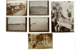 1905/1906, 5 Alte Originalfotos, U.a. Lazarett Karibib Und Swakopmund. Dazu Sw-Fotokarte Friedhof Windhuk, Pracht.