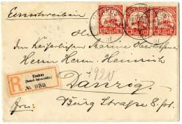 """3 Mal 10 Pf Mit WZ Auf Pracht-Bedarfs-R.-Brief """"Usakos 14.11.07"""" Nach Danzig, Rs Fehlt 1 Klappe"""