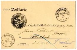 """""""Keetmanshoop 25.12.03"""" + Dienstsiegel Dsgl. Auf Provisorischer Feldpostkarte (Vogenbeck PFPK 4) Mit Viol. L 1..."""
