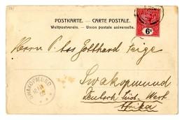 """Pracht-Ceylonkarte Mit 6 Centmarke, Geschrieben In Colombo Nach """"Swakopmund 10.II.02"""""""