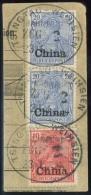 """""""Tsingtau-Weihsin Zug 2 (Aushilfsjahreszahl 2) 23.4.04"""" 3 Mal Klar Auf Kabinett-Paketkarten-Abschnitt Mit Nr. 17..."""