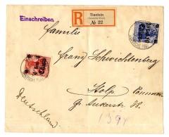 """4 Und 10 C Auf Pracht-R.-Brief (2 Zarte Bugspuren) """"Tientsin B 28.5.15"""" (Kriegsdatum) Nach """"Stolp 21.7.15"""",(..."""