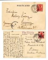 """""""Peking D.P. 6.2.01"""" Auf Pracht-Bildkarte Mit DR 10 Pf Germania Nach Leipzig Und 4 C. Auf Pracht-Bildkarte..."""