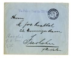 """4 C. Rückseitig Auf Prachtbrief Der Firma Ehlers & Co """"Schanghai * B 11.6.14"""" Nach Iserlohn, Violetter L 1..."""