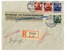"""2 C, 10 C Und 2 Mal 4 C. Auf Pracht-R.-Brief (zarte Bugspur) """"Schanghai 6.11.15"""" (Kriegsdatum) Via """"New York..."""