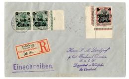 """Randpaar 2 C Mit Randzifferl 3 Und Untere Linke Bogenecke 20 C Auf Pracht-R.-Brief """"Tschinkiang 20.8.15""""..."""