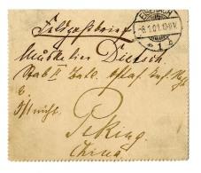 """Pracht-Feldpostbrief Aus """"Eisenbach 8.1.01"""" An Einen Soldaten Des """"Stab II .Batl.Ostas.Inf. Reg. 6"""" In Peking, Rs..."""