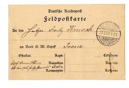 """Pracht-Feldpost-Vordruckkarte Aus """"Falkensee 27.2.01"""" An Einen Heizer An Bord S.M.S. Schiff Irene, Handschriftlich..."""