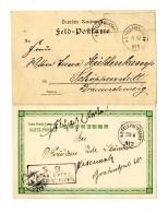 """""""K.D.Feld-Poststation No. 2 23.4"""" Bzw. """"No.4 15.12"""" Auf 2 Pracht-Bildkarten (1 Mit Briefstempel """" Ostas. Exped...."""