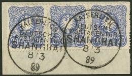 """20 Pfennig Im Waagerechten Dreierstreifen Auf Pracht-Briefstück Mit 2 Klaren Stpl. """"KDPAG SHANGHAI"""" 1889."""
