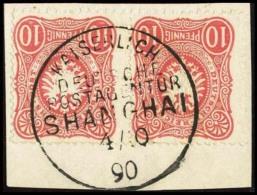 """Paar 10 Pfennig Hellrot (1 Wert 2 Mal 1/2 Zahn) Auf Kabinett-Briefstück """"Kaiserlich Deutsche Postagentur..."""