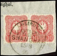 """Paar 10 Pfennig Hellrot Auf Kabinett-Briefstück """"Kaiserlich Deutsche Postagentur Shanghai 15.8.90"""""""
