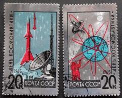 USSR 1965  Minr.3042-43  Kosmonauter, Rocket, Satelitkortet (o)  ( Lot  C 107  )