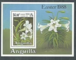 Anguilla BF N° 80  XX  Flore : Fleurs De Lys, Pâques, Le Bloc  Sans Charnière, TB