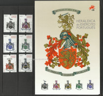 Portugal Armoires De L´ Armée De Terre Brochure + Timbres 2016 ** Portugal Portuguese Army Coat Of Arms Armorial 2016 **