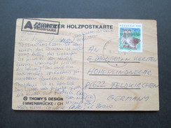 AK Echtholz / Schweizer Holzpostkarte Schweiz 1996 Coolman. Thomy's Design. Emmenbrücke - Ansichtskarten