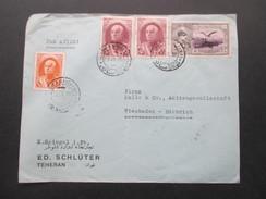 Iran 1939 Airmail / Luftpost. ED. Schlüter Teheran. Mischfrankatur. Marke Mit Aufdruck! Interessanter Beleg! - Iran