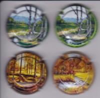 LOTE DE 4 PLACAS DE CAVA DUCAL OLIVER DE PINTURA (CAPSULE) PAISAJE-PAINTING - Placas De Cava