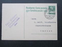 Schweiz Ganzsache 1923 Münchenbuchsee (Bern) Paul Wittwer Briefmarkenhandlung - Interi Postali