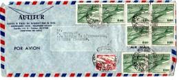 Lettre   1959  CHILI Bel Ensemble Timbres Poste Aérienne  Envoyée A TAHITI