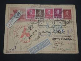 ROUMANIE - Entier Postal En Recommandé Pour Vichy Et Redirigé Vers Monaco En 1942 , Contrôle Postal   - A Voir - L 4999 - 2. Weltkrieg (Briefe)