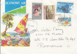 51336- QUEEN ELISABETH II, CROCODILE, ANTARCTICA, KAYAK, STAMPS ON SURFING SPECIAL COVER, 1995, AUSTRALIA