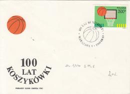 51344- BASKETBALL, COVER FDC, 1991, POLAND