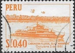 """PERU 1962 Gunboat """"Maranon"""" -  40c. - Orange FU - Peru"""