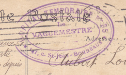 33 Bordeaux- Carte De 1915 Cachet Violet Oval Hopital Temporaire N°35. 141 C St Jean. Le Vaguemestre. Tb état. - Marcophilie (Lettres)