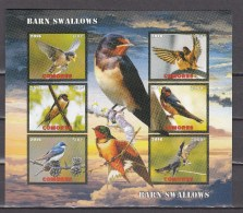 Comores 2016,6V In Block,IMP,barn Swallows,birds,vogels,vögel,oiseaux,pajaros,uccelli,aves,MNH/Postfris(L2913) - Oiseaux