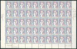 France Variété 1961 - Impression Sur Raccord S/Bloc De 50 Valeurs - Marianne De Cocteau  - Y&T N° 1282 ** Neuf - 2 Scans