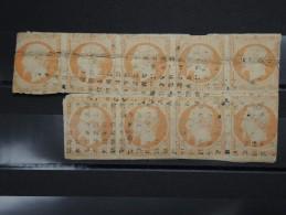 FRANCE - Rare Bloc De 9 N° Yvert 16  40c Napoléon Sur Fragment Avec Défauts Mais Rarissime Cote +2000€ - A Voir - L 5011