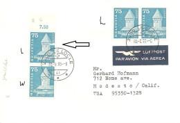 Schweiz, Bauten, 1960, Brief 366 + 366L, Mischer, Mixed,1995 Le Locle  Nach Modesto USA, Porto Richtig , Siehe Scans! - Switzerland