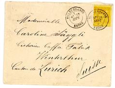 RHONE ENV 1884 VILLEURBANNE T18 SUR 25C SAGE JAUNE => TARIF POUR LA SUISSE - 1877-1920: Semi-Moderne