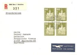 Schweiz, Bauten, 1967, 362L,364L,368L,369L  Viererblock ET-Set, Selten, Siehe Scans!