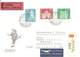Schweiz, Bauten, 1968, Express-R-Brief, Zürich Nach Bayreuth, 366L,370L,371L,Satz FDC, Sehr Selten, Kat. Fr. 1800 , Sieh