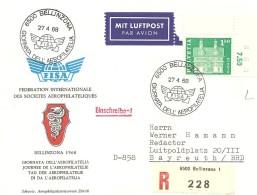 Schweiz, Bauten, 1968, Airmail Bellinzona Nach Bayreuth Deutschland, 371L, EF, Siehe Scans!