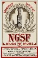 Magnifique Etiquette Genièvre NGSF Bruges 1950's Mooi Etiket Genever NGSF Nederlandse Gist Spiritus Fabriek Brugge - Etiquettes