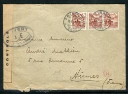 Suisse - Enveloppe De Fribourg Pour Nimes En 1944 Avec Contrôle Postal  Réf O 299