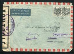 Suisse - Enveloppe De Vandoeuvres Pour Bamako Et Redirigé Vers Bouaflé En 1944 Avec Contrôle Postal  Réf O 300