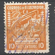 EL SALVADOR   1935 Local Motives EL SALVADOR PRODUCTOR DE CAÑA DE AZUCAR  USED - El Salvador